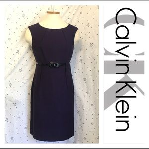 Calvin Klein Purple + Black Sheath Dress w/ Belt